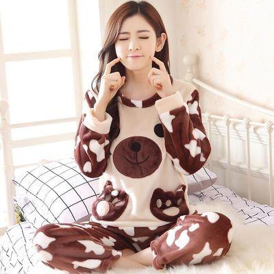 睡衣女冬季加厚法兰绒睡衣女秋学生可爱珊瑚绒大码长袖家居服套装