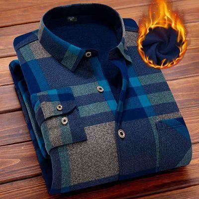 【加绒衬衫男】【多色可选】秋冬男士长袖格子保暖衬衣