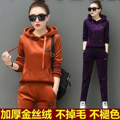 金丝绒冬季女装运动套装女大码加绒加厚休闲运动服学生时尚两件套