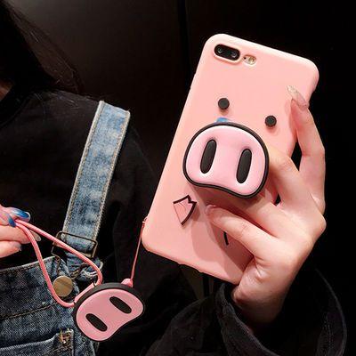 红米note/2/3/4/4x/5a手机壳可爱卡通猪鼻子气囊支架硅胶软套挂绳