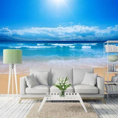 客厅电视背景墙纸影视墙纸壁画风景海景沙滩壁纸胶水走廊房腰线