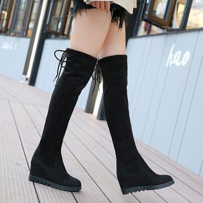 2018秋冬过膝长靴高筒靴内增高绒面女靴长筒靴瘦腿坡跟弹力单靴子