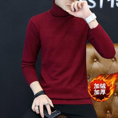 2018新款针织衫男秋冬加绒加厚上衣高领男士毛衣打底纯色衣服毛衫