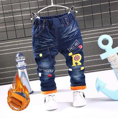 冬季男中大童女童牛仔棉裤加厚儿童棉裤牛仔裤加绒宝宝裤子1-12岁