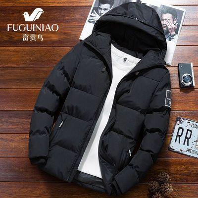 【富贵鸟正品】棉衣男冬季男士青年韩版加厚修身男款保暖带帽外套