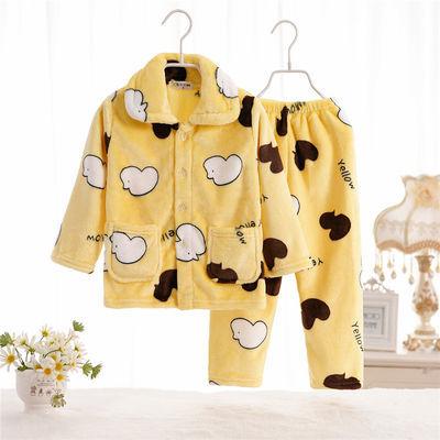 儿童法兰绒睡衣套装新款秋冬季珊瑚绒加厚款女童男孩中大童家居服