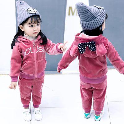 女童金丝绒秋装套装女加绒加厚冬款两件套女宝宝2018新款1-5岁潮