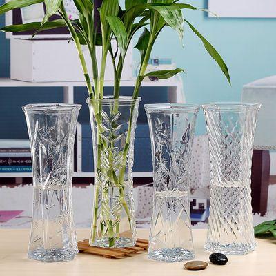 {送富贵竹十棵}玻璃花瓶欧式现代简约客厅桌面插花摆件大小号花瓶