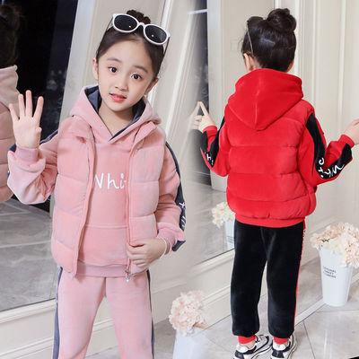 两件/三件套女童金丝绒套装秋冬装2018新款加厚儿童宝宝三件套潮