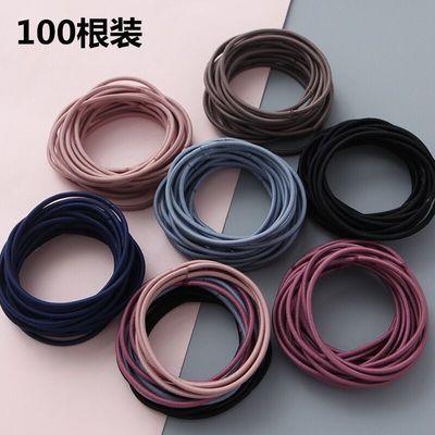 【100条装】韩版细头绳高弹力发圈发绳成人简约头饰女扎头皮筋