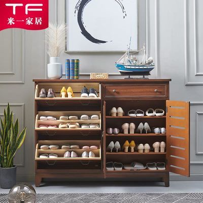 实木鞋柜美式超薄门厅柜家用多功能翻斗对开门鞋架大容量门口玄关