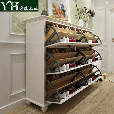 逸涵木业美式实木鞋柜现代简约多功能翻斗玄关门厅鞋柜大容量鞋架
