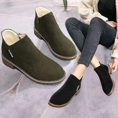 【加绒】2018冬季短靴女低跟加绒加棉时装靴百搭磨砂平底学生女靴