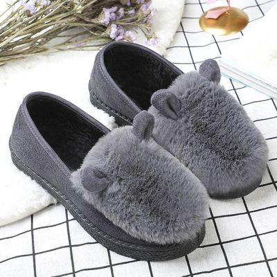 【 加绒保暖】毛毛鞋女冬季豆豆鞋女老北京布鞋女加绒厚底棉鞋