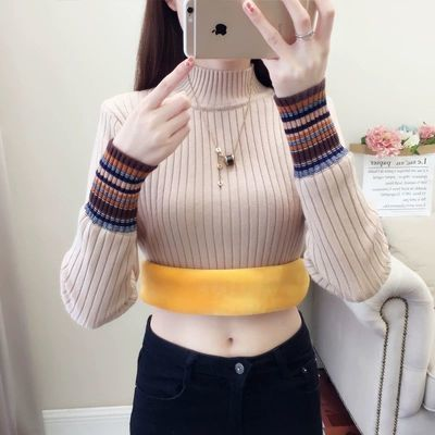 【加绒加厚】半高领毛衣女秋冬针织衫修身新款韩版保暖学生打底衫