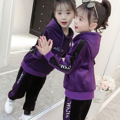 童装女童套装2018新款加绒加厚秋冬装中大童金丝绒儿童韩版两件套
