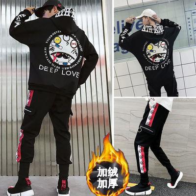加绒卫衣男连帽秋冬季款一套装嘻哈韩版潮流ins港风chic外套潮牌