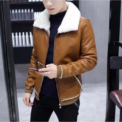 【常规/皮毛可选】加绒皮衣男青年翻领韩版修身型加厚毛领夹克男