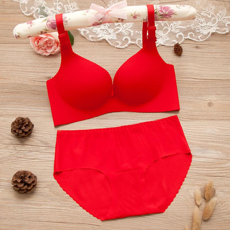 便宜的大红文胸套装无痕无钢圈结婚本命年内衣小胸聚拢加厚文胸大码薄款