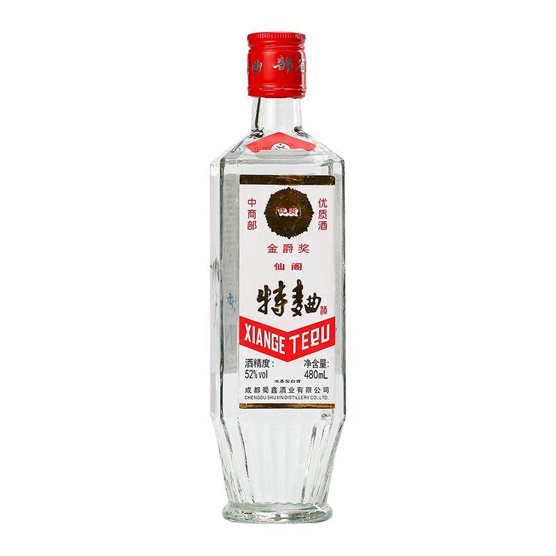 四川金奖仙阁酒特曲方瓶白酒特价52度浓香型纯粮食酒480ml