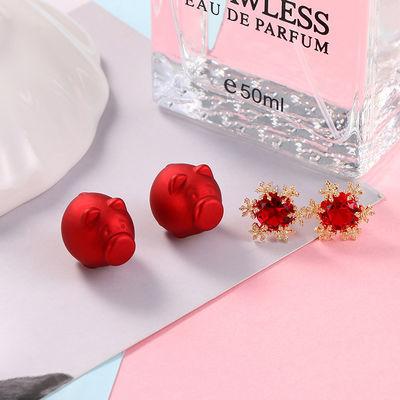 新年款喜庆爱心红色珍珠耳钉