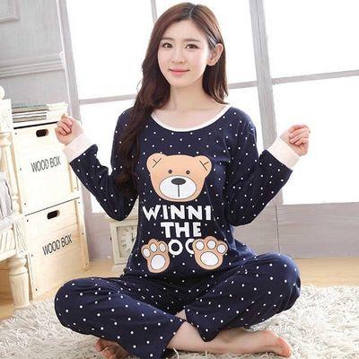 睡衣女春秋款长袖韩版学生睡衣女秋冬季可爱卡通家居服套装薄款夏