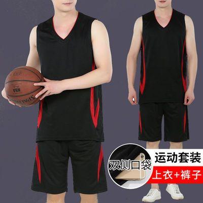 夏季薄款透气篮球服套装男跑步服男士背心短裤套装大码休闲运动服