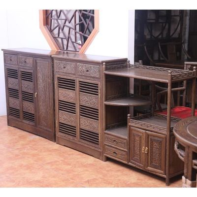 现代中式红木家具 鸡翅木鞋柜 储物柜 杂物柜 实木3门 两门鞋柜