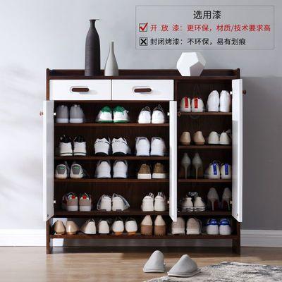 实木鞋柜简约现代家用原木客厅多功能门口大容量北欧门厅玄关柜