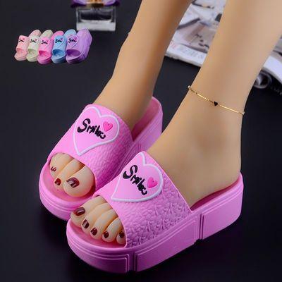 拖鞋女夏天外穿夏季韩版坡跟凉拖厚底室内防水台高跟一字拖可爱女