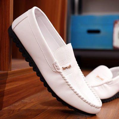 2020春夏季男士休闲鞋皮鞋白色懒人一脚蹬豆豆鞋潮流社会小伙男鞋