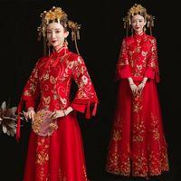 秀禾服新娘2020新款红色结婚敬酒服女中式嫁衣百褶裙龙凤褂出阁服