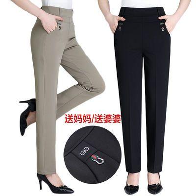 妈妈裤子夏季薄款中老年女裤高腰弹力直筒休闲裤宽松春秋加绒长裤