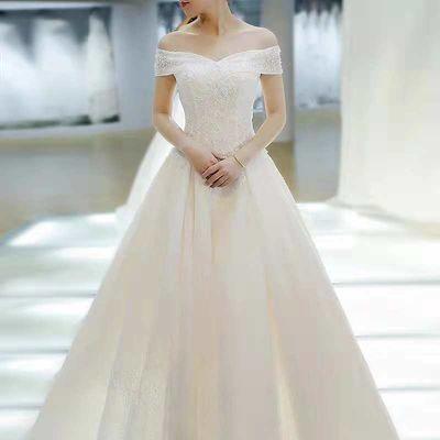 轻主婚纱礼服2021新款新娘结婚拖尾奢华森系显瘦简约一字肩齐地女
