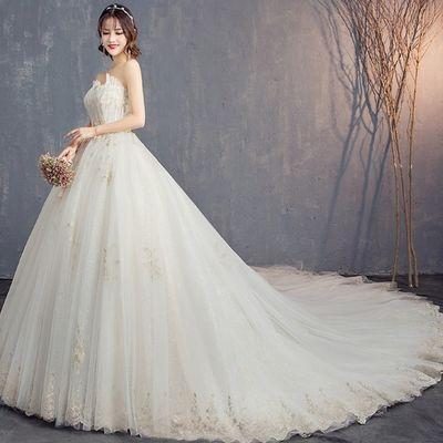 抖音重工婚纱礼服2021新款新娘结婚森系显瘦抹胸长拖尾星空婚纱女