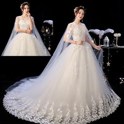 婚纱新娘婚纱裙2021长拖尾仙女成人礼中国风婚纱礼服小个子森系