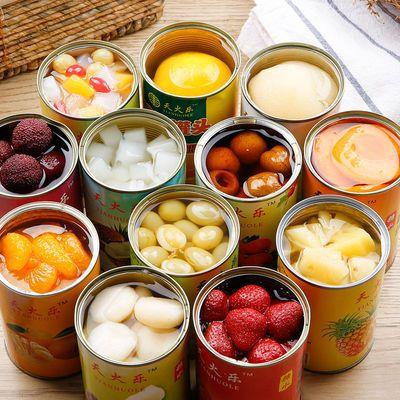 新鲜水果罐头混合6罐装每罐425克黄桃罐头椰果菠萝橘子梨什锦草莓