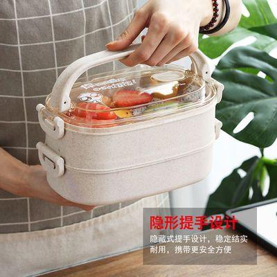 微波炉专用饭盒手提带盖分隔塑料便当盒学生女上班族成人双层餐盒