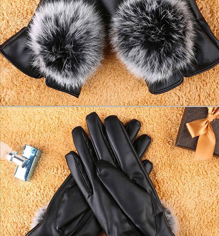 男女保暖皮手套秋冬季加絨加厚触屏开车兔毛防风防水骑车防寒手套