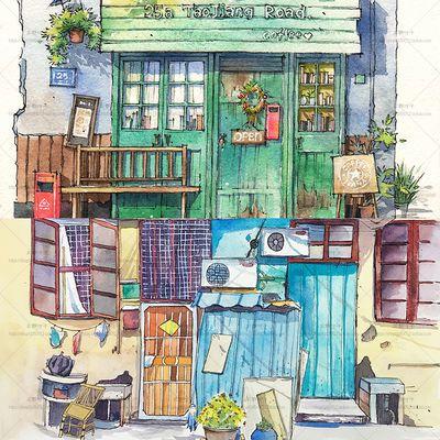 日韩小清新 临街小屋 手绘水彩插画  森系建筑 场景 绘画素材
