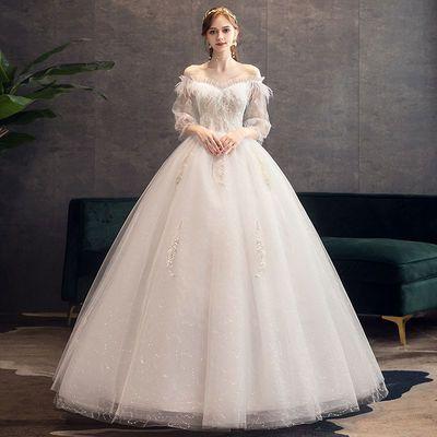 轻婚纱2021新款新娘森系梦幻星空超仙法式简约公主风一字肩出门纱