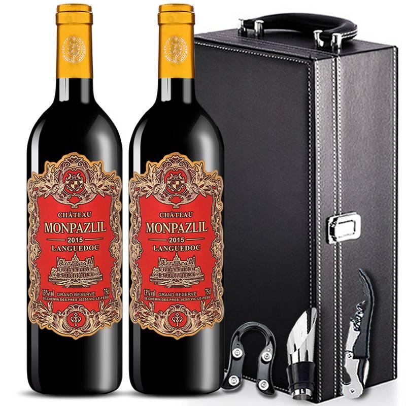 法国进口红酒整箱13度红酒干红葡萄酒750mlX2支6支整箱礼盒多规格