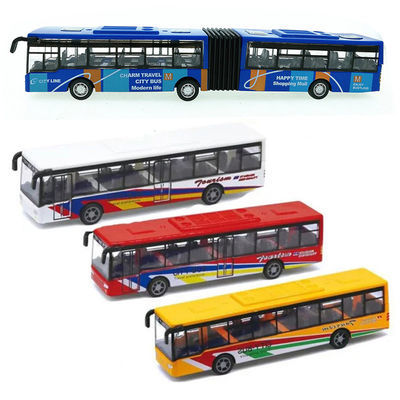 合金回力公交车 仿真巴士车模型 耐摔儿童玩具公共汽车单层摆件