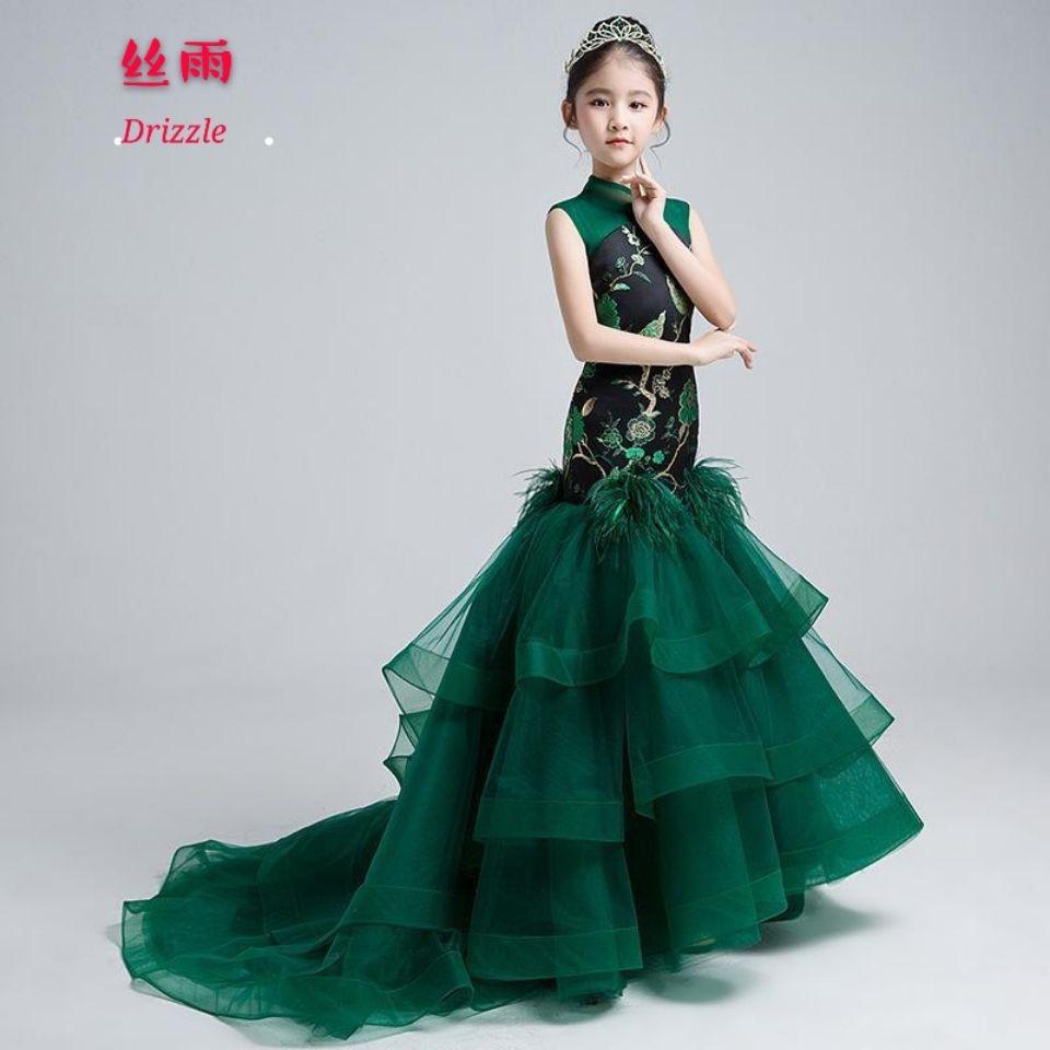 儿童礼服公主裙中国风演出服女童模特走秀拖尾鱼尾夏季长款晚礼服