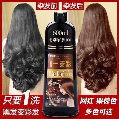 【盖白发】一洗上色彩色染色洗发水纯植物天然栗棕咖啡葡萄紫黑色