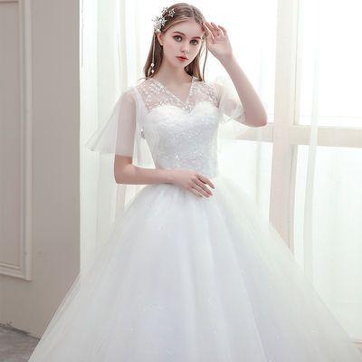 主婚纱礼服2021新款韩版新娘一字肩孕妇修身显瘦森系蕾丝V领齐地