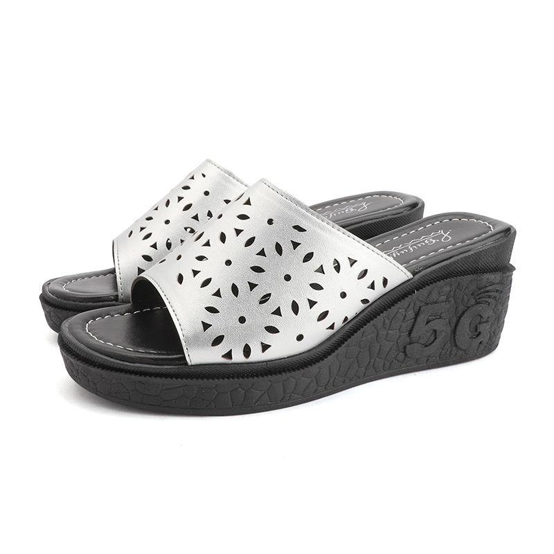 YJ0054-4 2020新款女拖鞋高跟坡跟洞洞休闲女凉拖百搭厚底女鞋