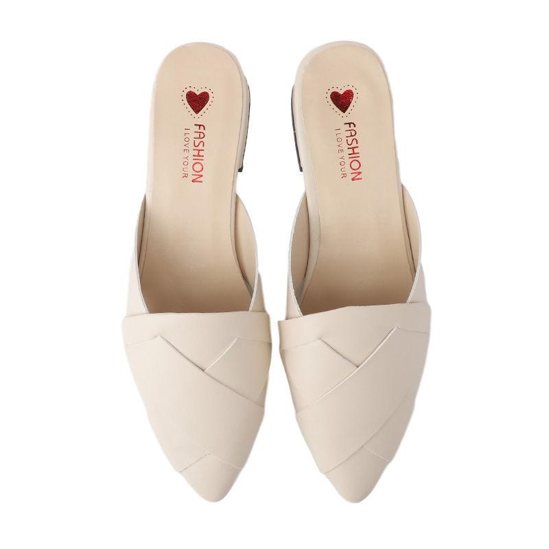 LZ0066-1凉鞋女新款百搭包头时尚半拖鞋粗跟懒人鞋