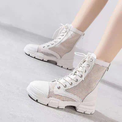 网纱马丁靴女夏季薄款透气印花网红中筒夏款八孔春夏百搭短靴潮流