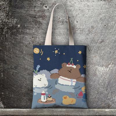ins韩国包邮新款帆布单肩包手提购物袋可爱小熊卡通学生文艺女包
